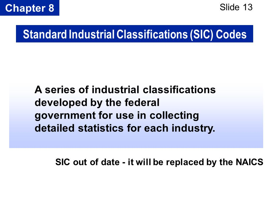 Chapter 8 Slide 13 A series of industrial classifications developed by the federal government for use in collecting detailed statistics for each indus