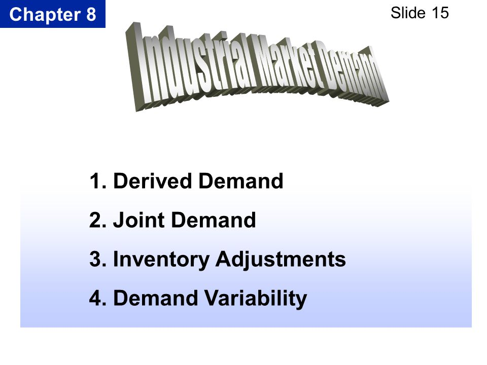 Chapter 8 Slide 15 1. Derived Demand 2. Joint Demand 3. Inventory Adjustments 4. Demand Variability