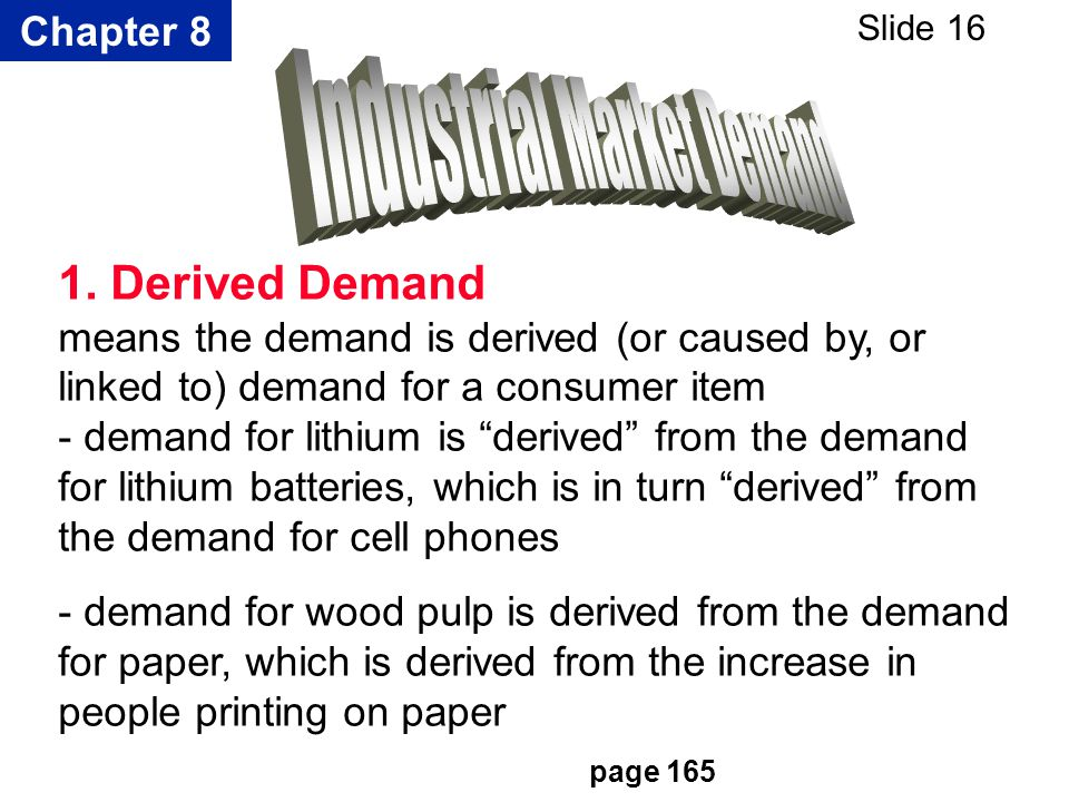 Chapter 8 Slide 16 1. Derived Demand means the demand is derived (or caused by, or linked to) demand for a consumer item - demand for lithium is deriv