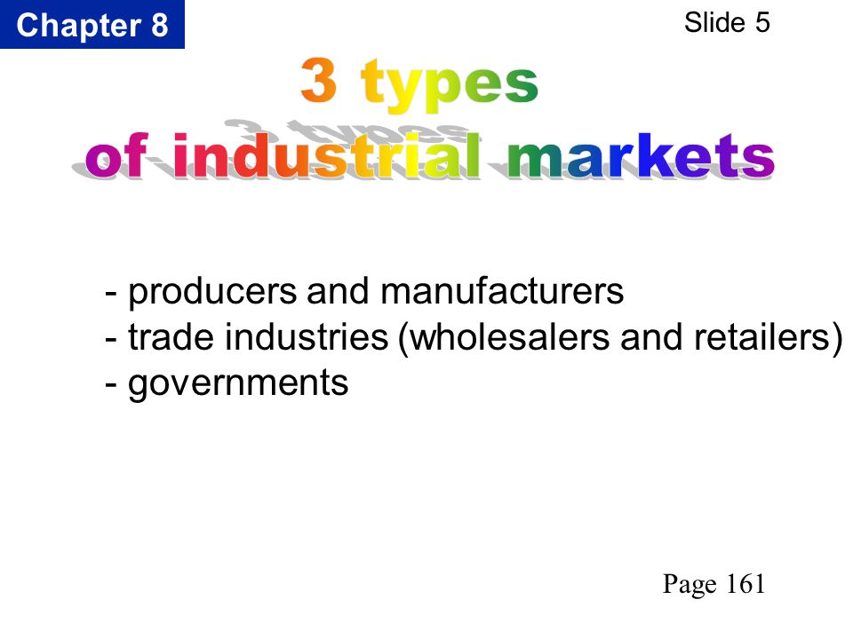 Chapter 8 Slide 5 - producers and manufacturers - trade industries (wholesalers and retailers) - governments Page 161