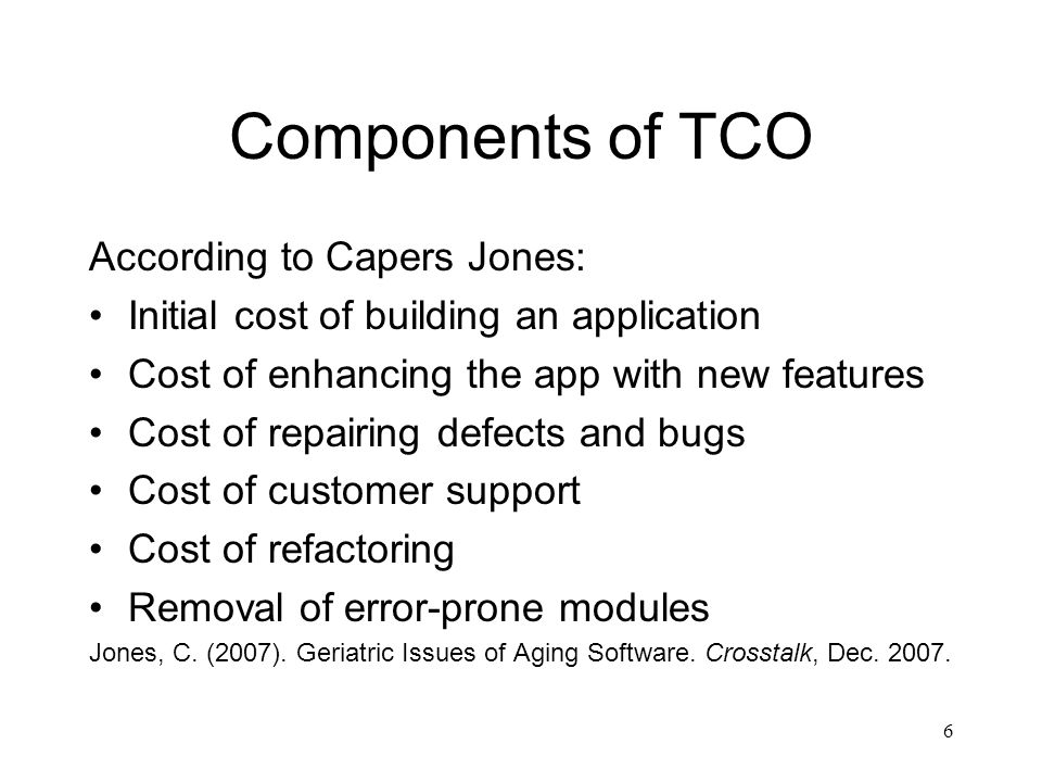 Components of TCO According to Capers Jones: Initial cost of building an application Cost of enhancing the app with new features Cost of repairing defects and bugs Cost of customer support Cost of refactoring Removal of error-prone modules Jones, C.