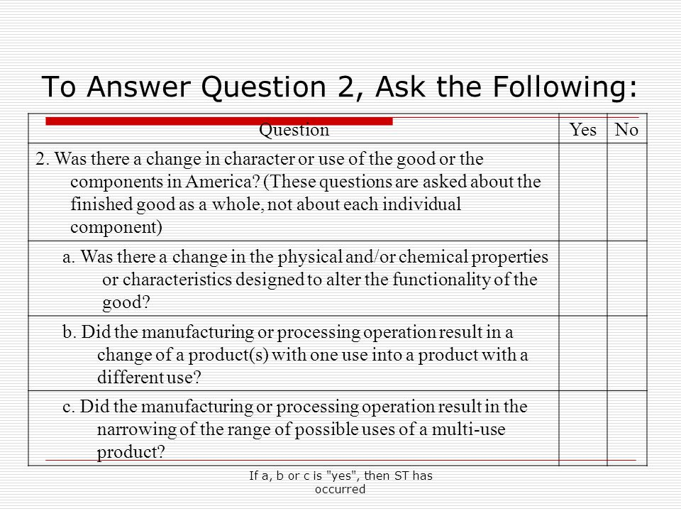 If a, b or c is yes , then ST has occurred To Answer Question 2, Ask the Following: QuestionYesNo 2.