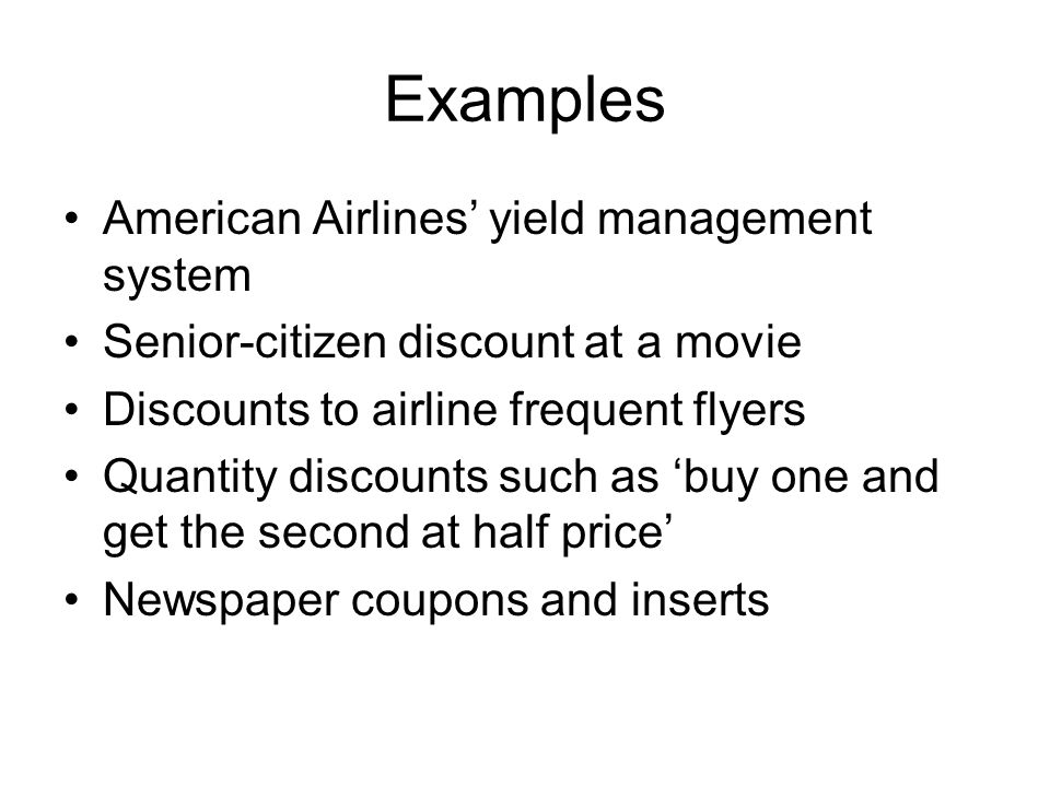 Yield management in airlines Let there be full fare seats and discount seats with prices and.