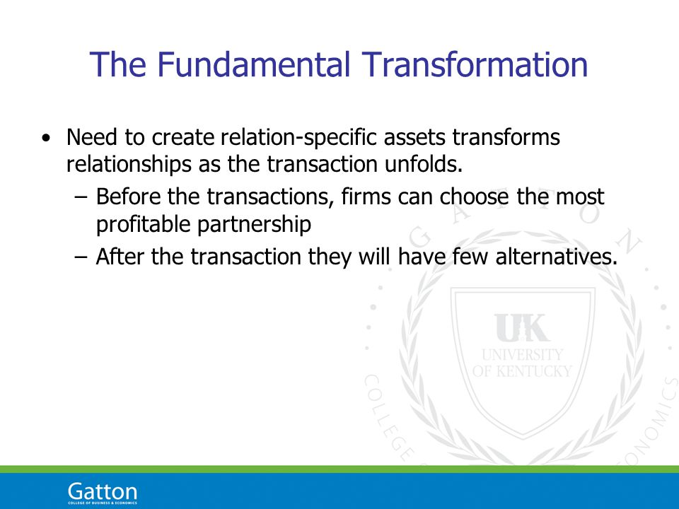 The Fundamental Transformation Need to create relation-specific assets transforms relationships as the transaction unfolds.