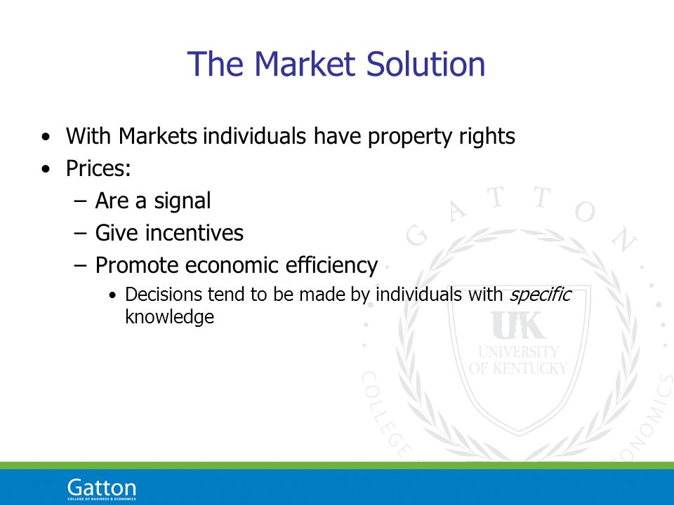 The Market Solution With Markets individuals have property rights Prices: –Are a signal –Give incentives –Promote economic efficiency Decisions tend to be made by individuals with specific knowledge