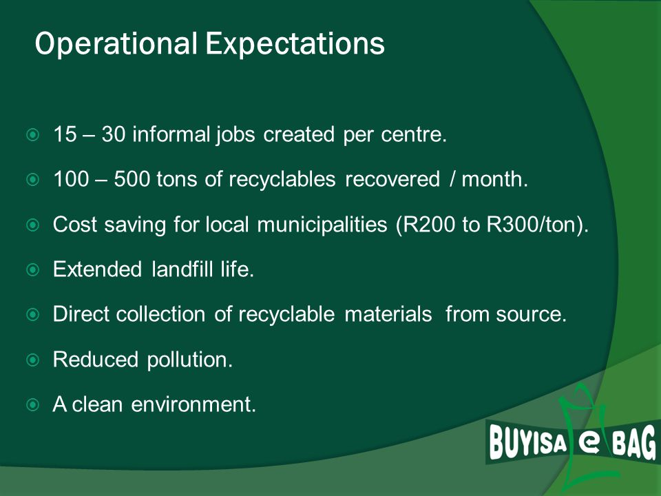 Key Drivers for Multi Recycling Centres Sustainable Development Empowerment through the required resources e.g.