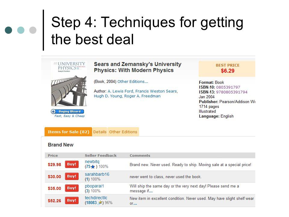 Step 4: Techniques for getting the best deal