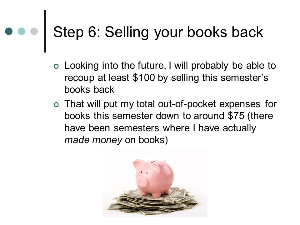 Step 6: Selling your books back Looking into the future, I will probably be able to recoup at least $100 by selling this semesters books back That wil