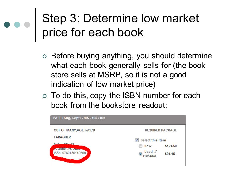 Step 3: Determine low market price for each book Before buying anything, you should determine what each book generally sells for (the book store sells