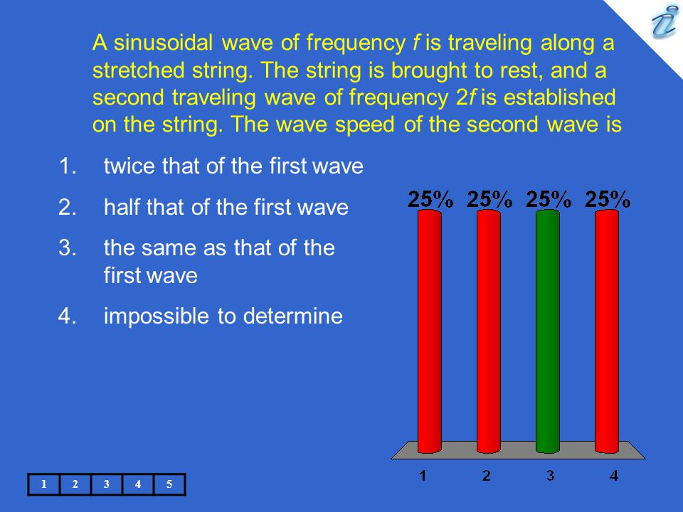 A sinusoidal wave of frequency f is traveling along a stretched string. The string is brought to rest, and a second traveling wave of frequency 2f is