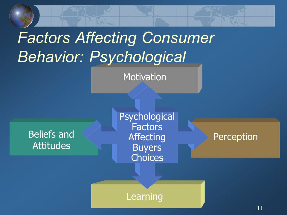 11 Factors Affecting Consumer Behavior: Psychological Psychological Factors Affecting Buyers Choices Motivation Perception Learning Beliefs and Attitu