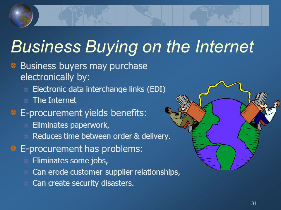 31 Business Buying on the Internet Business buyers may purchase electronically by: Electronic data interchange links (EDI) The Internet E-procurement