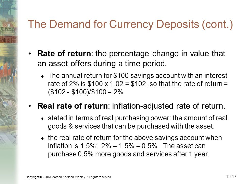 Copyright © 2006 Pearson Addison-Wesley. All rights reserved. 13-17 The Demand for Currency Deposits (cont.) Rate of return: the percentage change in