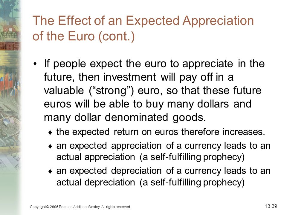 Copyright © 2006 Pearson Addison-Wesley. All rights reserved. 13-39 The Effect of an Expected Appreciation of the Euro (cont.) If people expect the eu