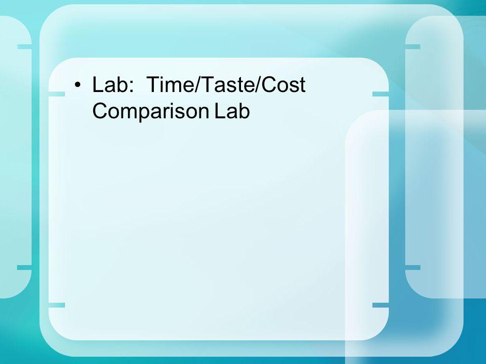 Lab: Time/Taste/Cost Comparison Lab