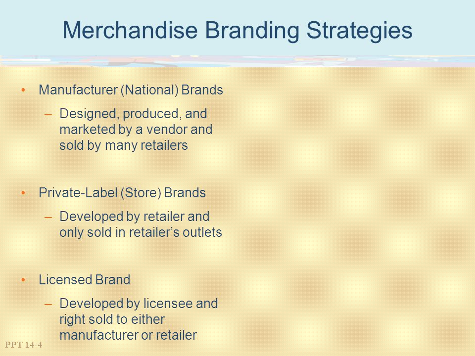 PPT 14-4 Merchandise Branding Strategies Manufacturer (National) Brands –Designed, produced, and marketed by a vendor and sold by many retailers Priva