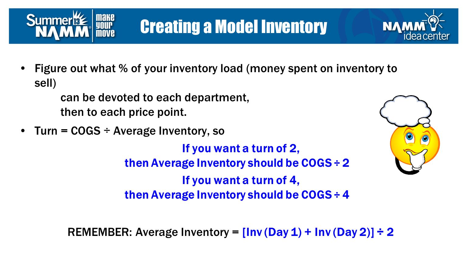 Figure out what % of your inventory load (money spent on inventory to sell) can be devoted to each department, then to each price point.
