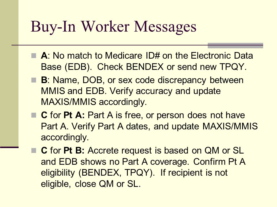 Buy-In Worker Messages A: No match to Medicare ID# on the Electronic Data Base (EDB).