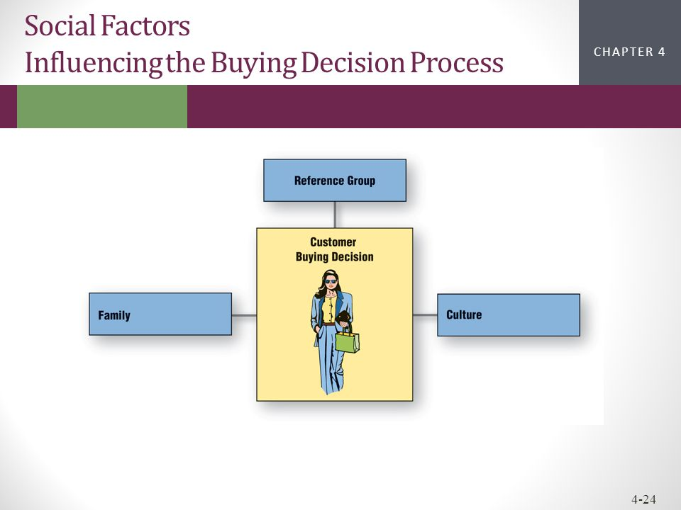 CHAPTER 2CHAPTER 1 CHAPTER 4 4-24 Social Factors Influencing the Buying Decision Process