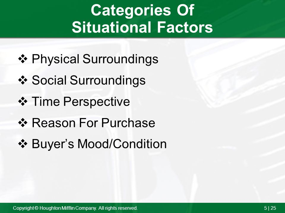 5 | 25Copyright © Houghton Mifflin Company. All rights reserved. Categories Of Situational Factors Physical Surroundings Social Surroundings Time Pers