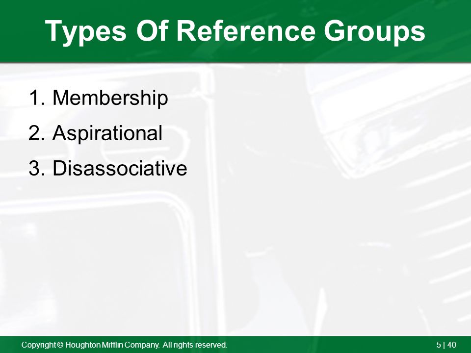 5 | 40Copyright © Houghton Mifflin Company. All rights reserved. Types Of Reference Groups 1.Membership 2.Aspirational 3.Disassociative