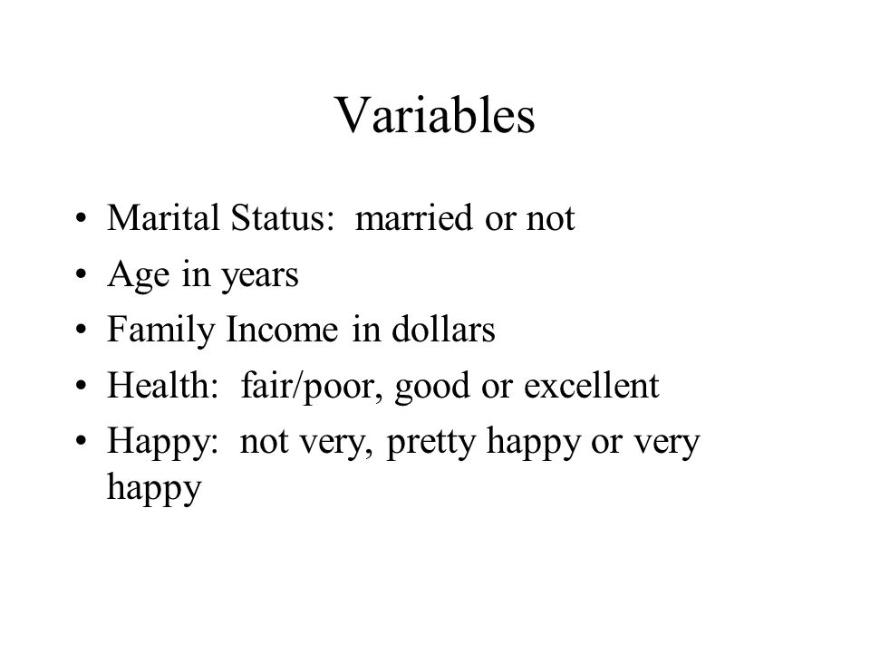 Variables Marital Status: married or not Age in years Family Income in dollars Health: fair/poor, good or excellent Happy: not very, pretty happy or very happy