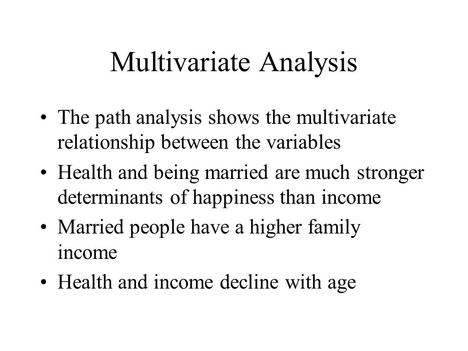 Multivariate Analysis The path analysis shows the multivariate relationship between the variables Health and being married are much stronger determinants of happiness than income Married people have a higher family income Health and income decline with age