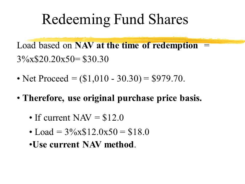 Redeeming Fund Shares Load based on NAV at the time of redemption = 3%x$20.20x50= $30.30 Net Proceed = ($1,010 - 30.30) = $979.70.