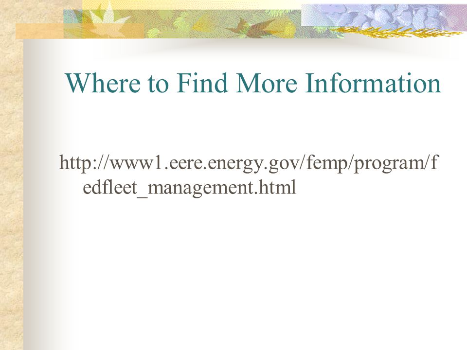 Where to Find More Information http://www1.eere.energy.gov/femp/program/f edfleet_management.html