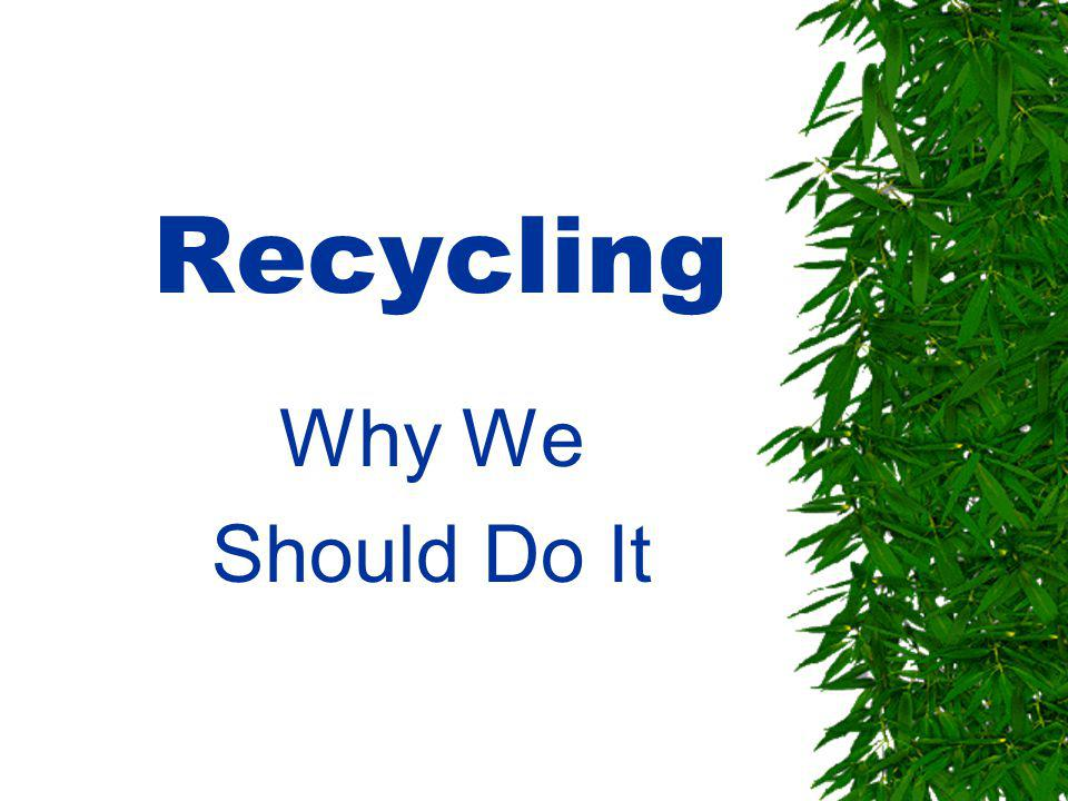 Recycling Why We Should Do It