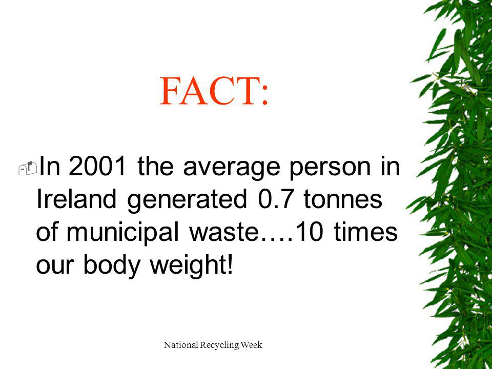 National Recycling Week In 2001 the average person in Ireland generated 0.7 tonnes of municipal waste….10 times our body weight.