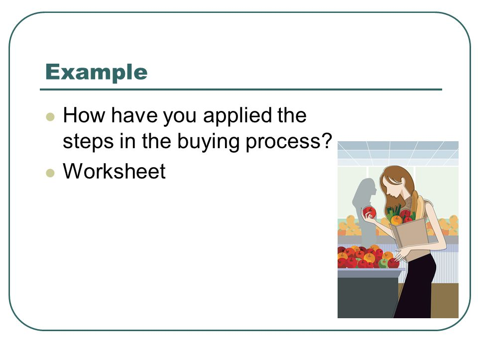 Example How have you applied the steps in the buying process? Worksheet