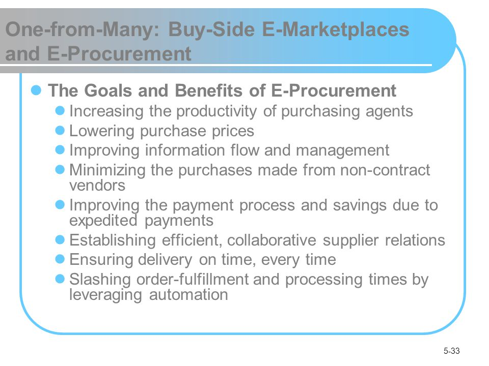 5-33 One-from-Many: Buy-Side E-Marketplaces and E-Procurement The Goals and Benefits of E-Procurement Increasing the productivity of purchasing agents