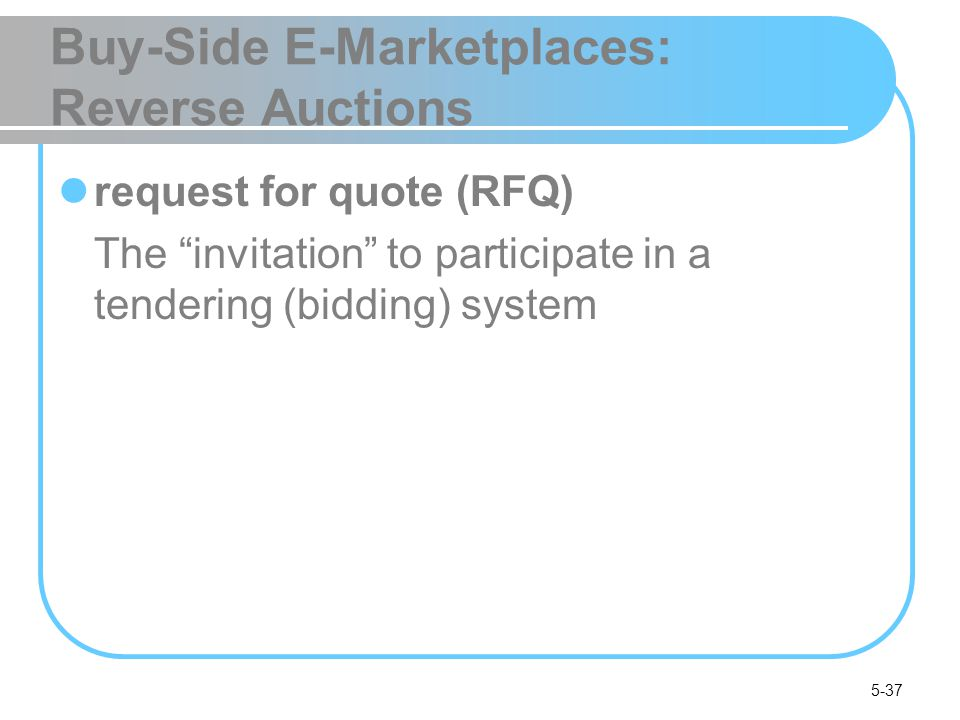 5-37 Buy-Side E-Marketplaces: Reverse Auctions request for quote (RFQ) The invitation to participate in a tendering (bidding) system
