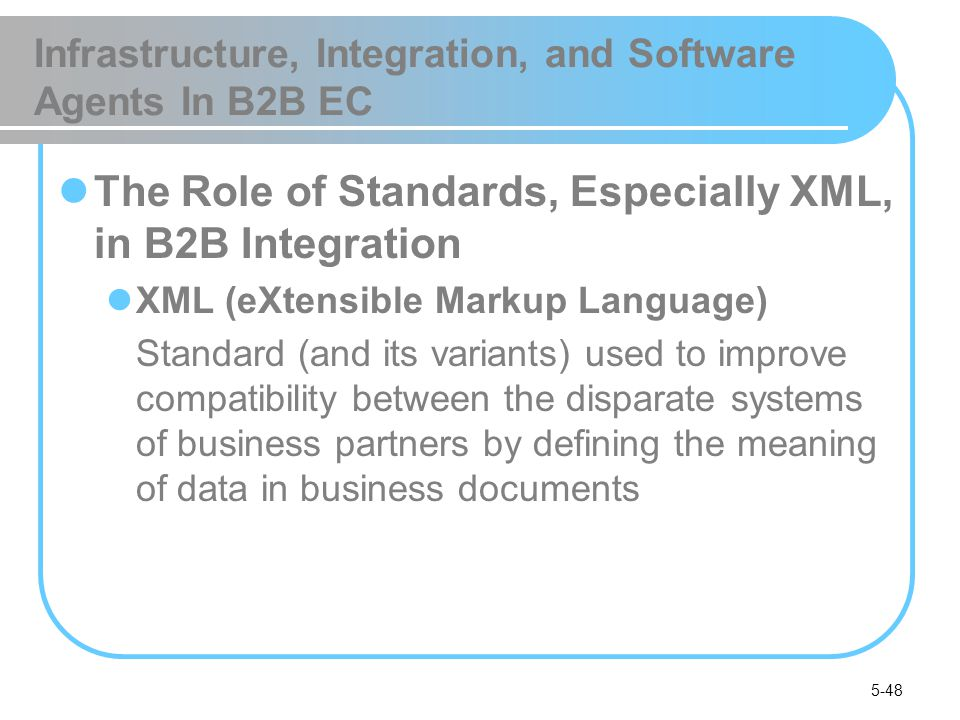 5-48 Infrastructure, Integration, and Software Agents In B2B EC The Role of Standards, Especially XML, in B2B Integration XML (eXtensible Markup Langu