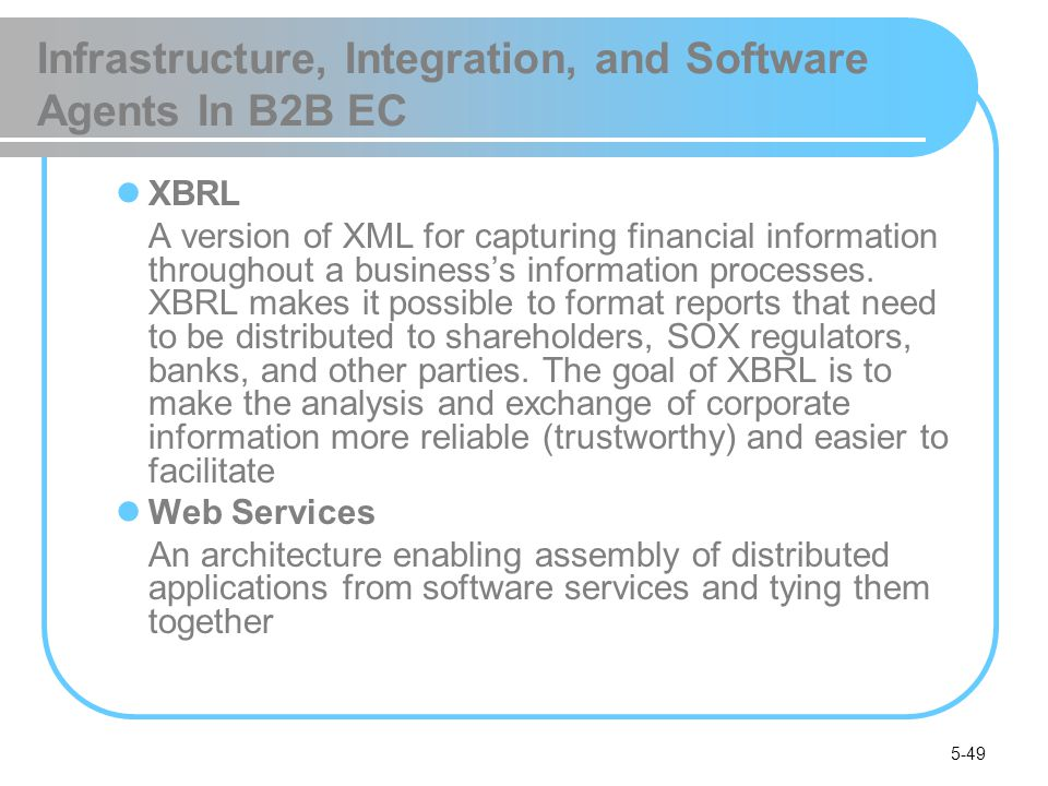 5-49 Infrastructure, Integration, and Software Agents In B2B EC XBRL A version of XML for capturing financial information throughout a businesss infor