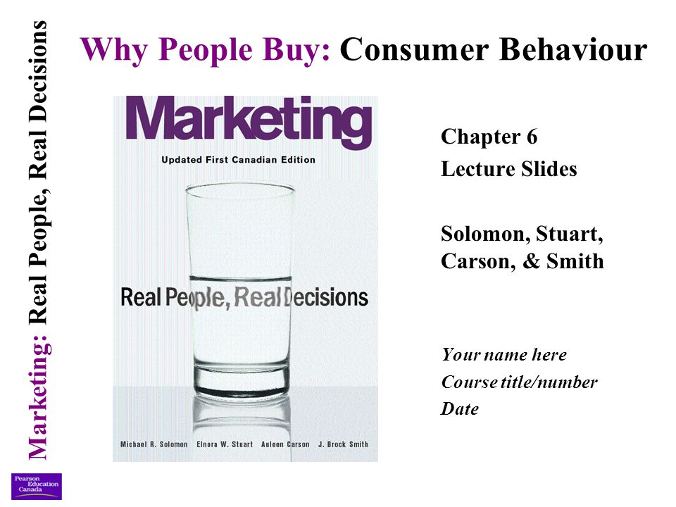 Marketing: Real People, Real Decisions ©Copyright 2003 Pearson Education Canada Inc.6-22 Internal Influences (continued) Attitude: a learned predisposition to respond favourably or unfavourably to stimuli based on relatively enduring evaluations of people, objects, and issues.
