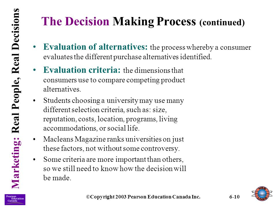 Marketing: Real People, Real Decisions ©Copyright 2003 Pearson Education Canada Inc.6-10 The Decision Making Process (continued) Evaluation of alterna
