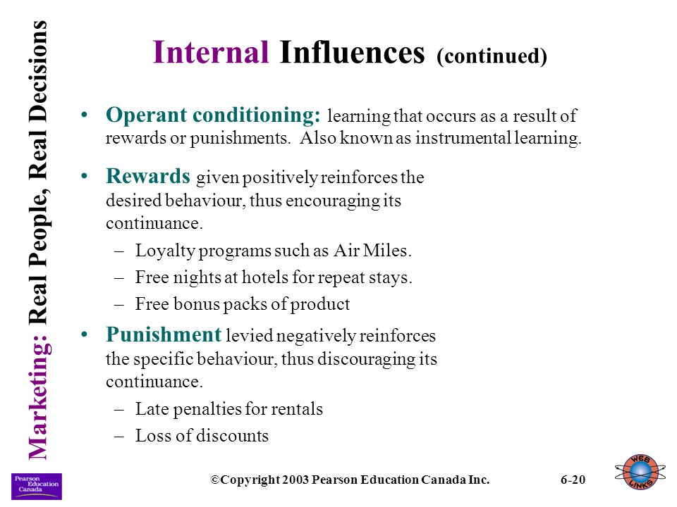 Marketing: Real People, Real Decisions ©Copyright 2003 Pearson Education Canada Inc.6-20 Internal Influences (continued) Operant conditioning: learnin
