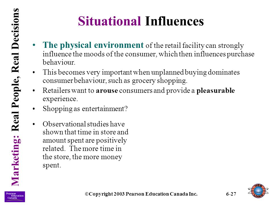 Marketing: Real People, Real Decisions ©Copyright 2003 Pearson Education Canada Inc.6-27 Situational Influences The physical environment of the retail