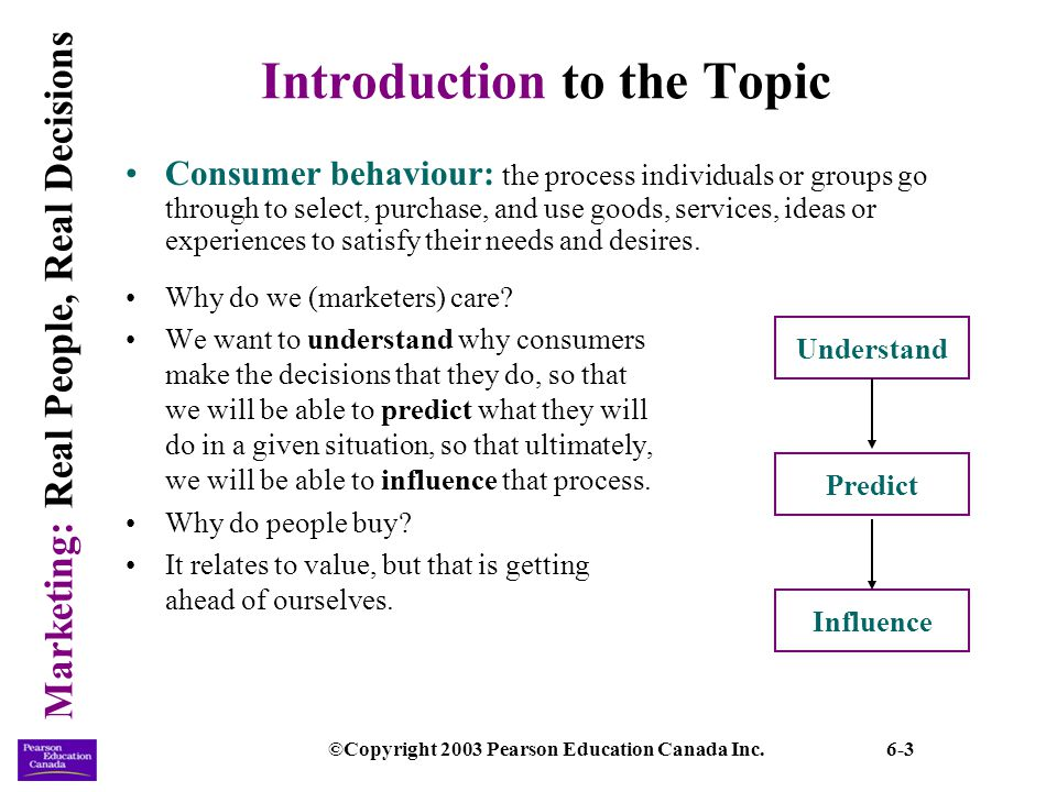 Marketing: Real People, Real Decisions ©Copyright 2003 Pearson Education Canada Inc.6-24 Internal Influences (continued) Self-concept: an individuals self-image that is composed of a mixture of beliefs, observations, and feelings about personal attributes.