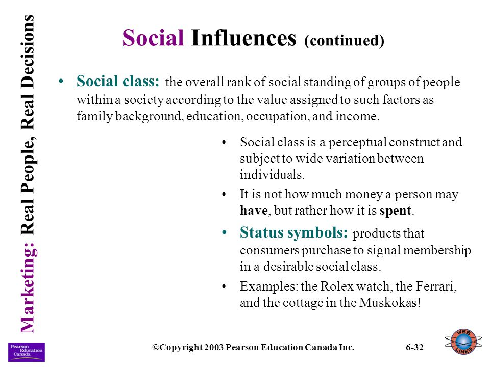 Marketing: Real People, Real Decisions ©Copyright 2003 Pearson Education Canada Inc.6-32 Social Influences (continued) Social class: the overall rank