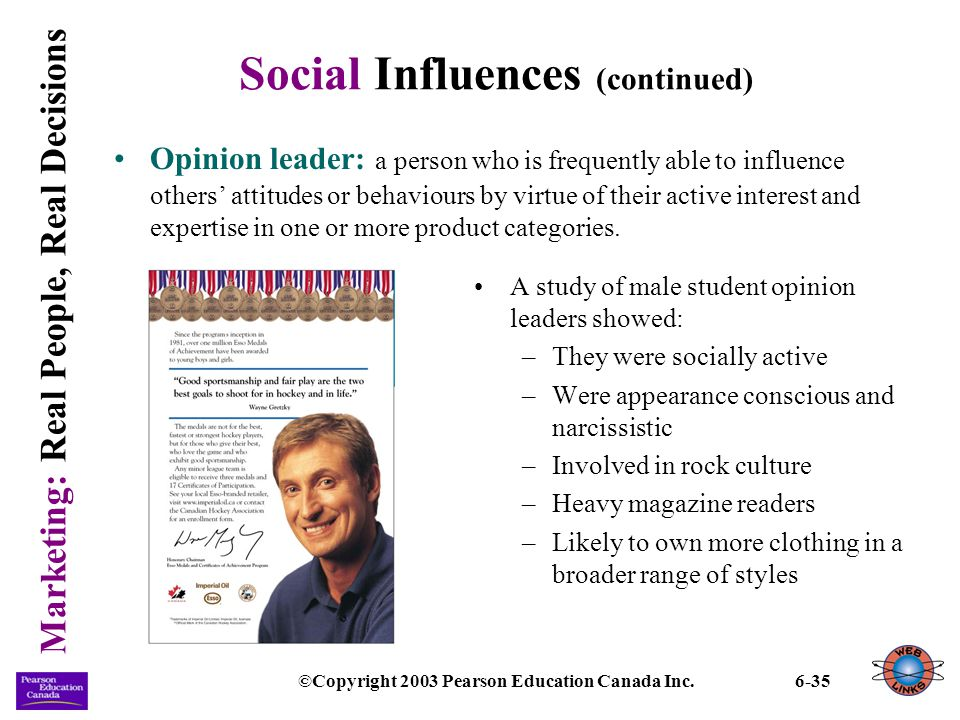 Marketing: Real People, Real Decisions ©Copyright 2003 Pearson Education Canada Inc.6-35 Social Influences (continued) Opinion leader: a person who is