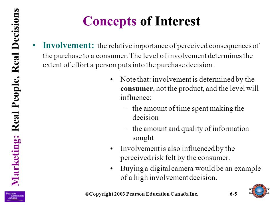 Marketing: Real People, Real Decisions ©Copyright 2003 Pearson Education Canada Inc.6-6 Concepts of Interest (continued) Types of decisions: purchase decisions will vary in the amount of effort consumers make in the process, according to their level of interest and the nature of the task.