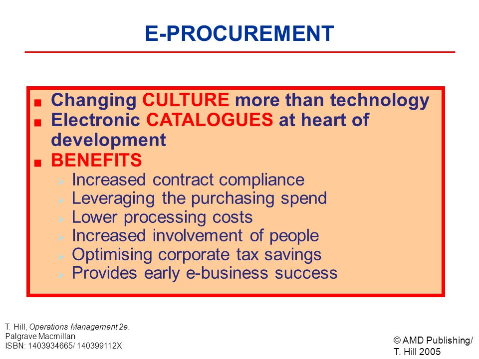 © AMD Publishing/ T. Hill 2005 T. Hill, Operations Management 2e. Palgrave Macmillan ISBN: 1403934665/ 140399112X E-PROCUREMENT Changing CULTURE more