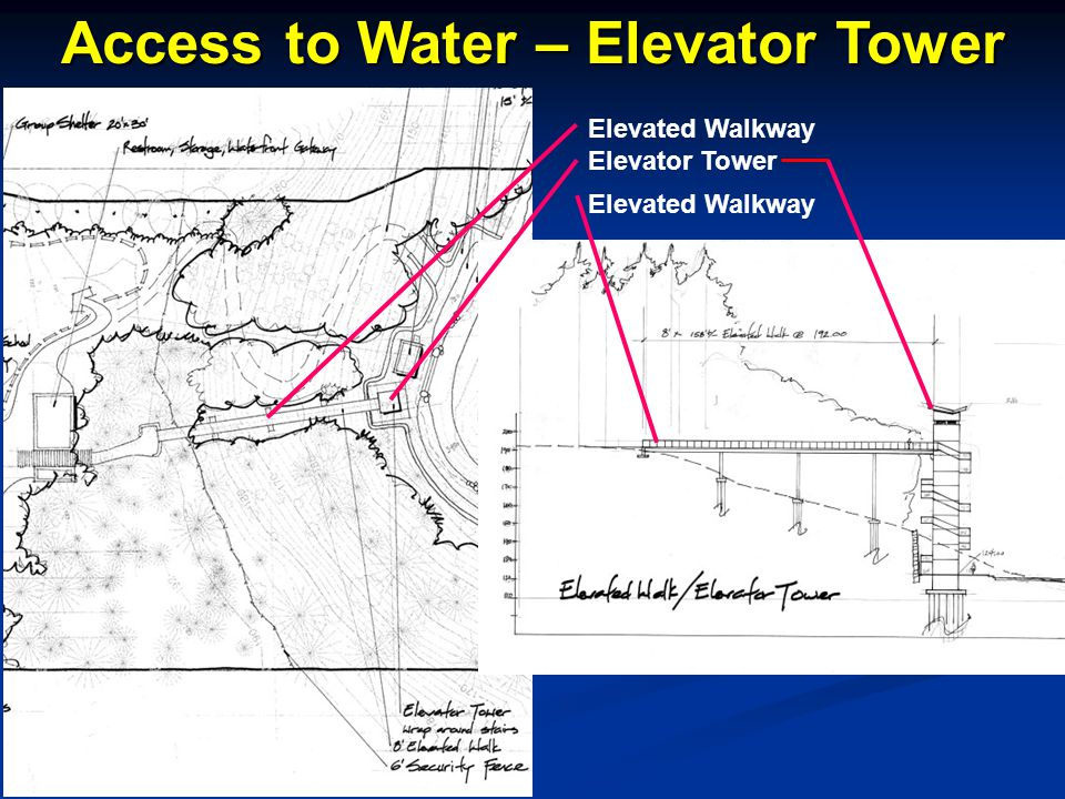 Elevated Walkway Elevator Tower Elevated Walkway Access to Water – Elevator Tower