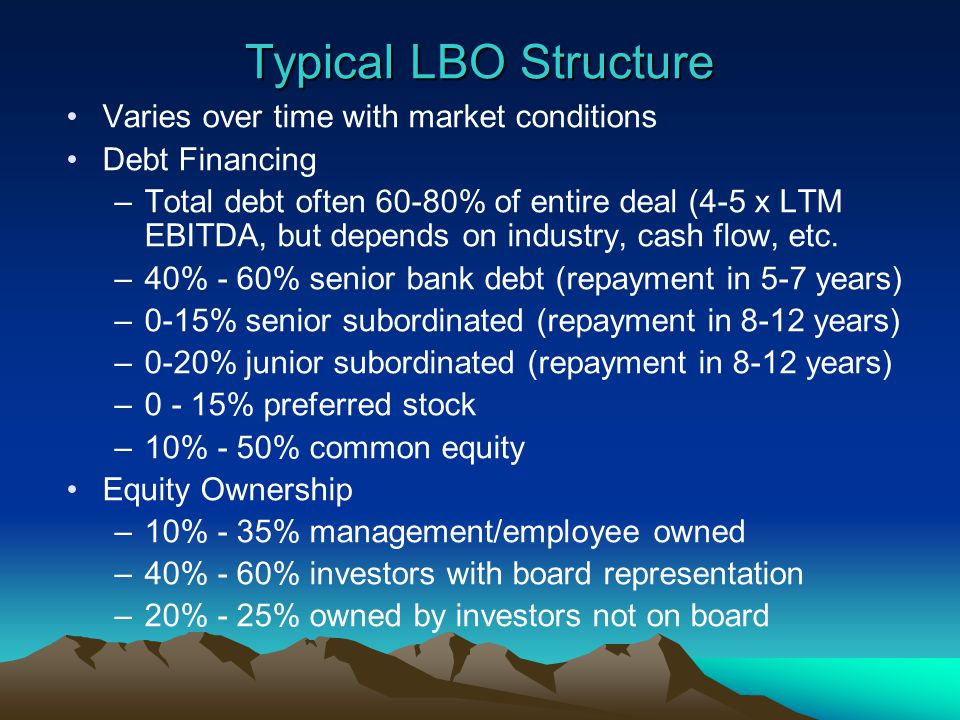 Typical LBO Structure Varies over time with market conditions Debt Financing –Total debt often 60-80% of entire deal (4-5 x LTM EBITDA, but depends on industry, cash flow, etc.