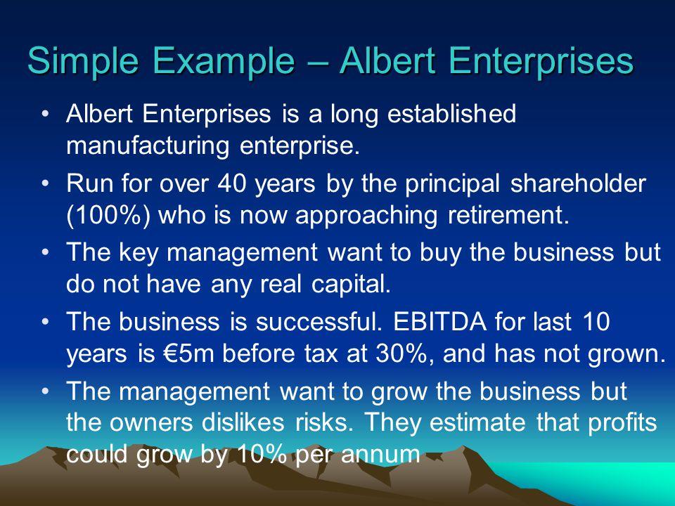 Simple Example – Albert Enterprises Albert Enterprises is a long established manufacturing enterprise.