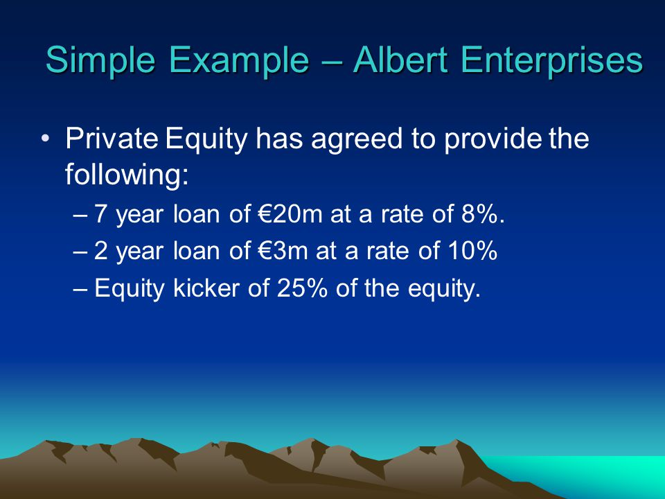 Private Equity has agreed to provide the following: –7 year loan of 20m at a rate of 8%.