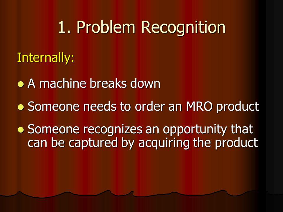 1. Problem Recognition Internally: A machine breaks down A machine breaks down Someone needs to order an MRO product Someone needs to order an MRO pro